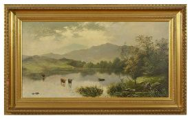Edgar Longstaffe (British 1849-1912) A pair of highland loch scenes, with cattle by a loch in the