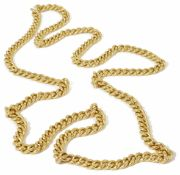 A heavy, long 18ct gold, continuous curb link chain of even size links, each link marked for 18ct.