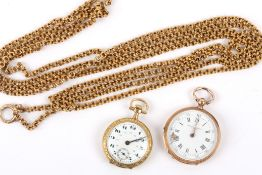 An attractive antique Continental gold longuard chain and two gold fob watches the fancy longuard