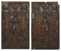 A pair of oak wall carvings, 19th century each of rectangular form with a central figure standing in