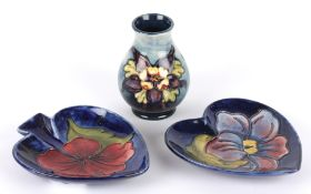 A William Moorcroft Clematis pattern tube lined heart shaped dish, 20th century together with a
