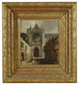 A European painting of a Church, late 18th /early 19th century depicted at the end of a built up