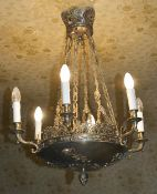 An Empire style six branch ceiling light, 20th century the central pierced leaf and finial ceiling