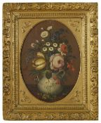 A Continental still life scene of a jug with flowers, the oval shaped panel depicting a jug
