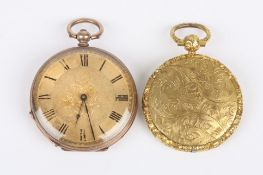 A Victorian yellow metal open face pocket watch with gilt metal dial and black Roman numerals,