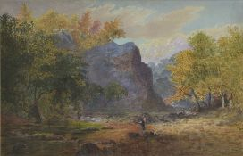 J Carlton, 1870 depicting a female standing in the middle of the an Autumn woodland, signature to