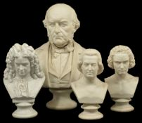 A collection of three Parian busts, 20th century comprising of RHon WE Gladstone MP, Handel,