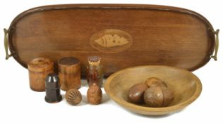 An Edwardian mahogany and inlaid tray, of oval form with twin handles with central conch shell,