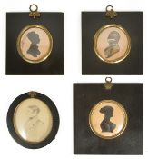 A selection of 19th century silhouettes comprising of a gentleman facing to the left and two of