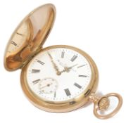 A Georges Favre Jacot 14K gold full hunter pocket watch the closed case with white enamel dial