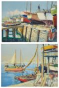 Donald Greig (British 1916 - 2009) two colourful scenes of trawlers moored to the dock and boats out