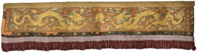 A 19th century Chinese embroidered alter hanging, circa 1860 the brown wool ground embroidered in