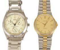 A Tissot Seastar gentleman's wristwatch, the gold coloured dial with baton hours and hands, with