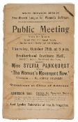 Suffragette interest: A collection of leaflets advertising a talk by Silvia Pankhurst 1915