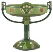 An Austrian Art Nouveau Eichwald pedestal table centre of oval form with two side handles upon a
