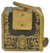 A French Empire style black glass perfume atomiser, late 19th century of square form decorated
