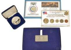 A collection of USA Coinage comprising of a cased July 1976 Queen Elizabeth II Bicentennial Visit