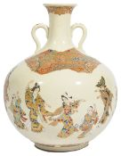 A Japanese Satsuma bulbous bottle vase, circa 1890 the cream ground painted with a continual