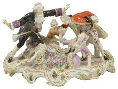 A Meissen style blindfold group, late 19th century modelled as two ladies kneeling