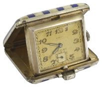 A Juvenia silver blue and white striped travelling clock of rectangular form with clasp and hinge