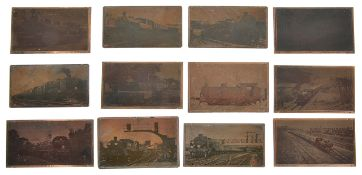 A collection of twelve acid etched copper plates of steam locomotives, (12) 12.5 x 8 cm