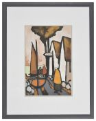 J.P. Rooney (Irish b.1950) 'Newry' gouache on board, framed, each signed Rooney lower left, with