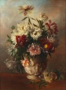 English School, 19th century a still life of flowers in a vase, monogrammed and dated '81 lower