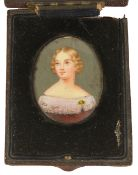 """A Victorian miniature on ivory portrait of famous opera singer 'Jenny Lind"""", the oval framed"""