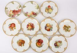 Eight German K.P.M. painted fruit porcelain cabinet plates each painted with cluster of fruit to the