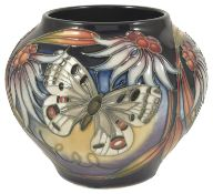 A Moorcroft pottery Apollo vase with butterflies by Sian Leeper, dated 2005 of squat bulbous form,