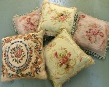 Five French assorted cushions made from antique floral tapestry of rose and ribbon design,