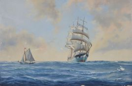 Kenneth Grant (British b.1934) A three masted steel hull ship possibly the Mount Stewart or Cromdale