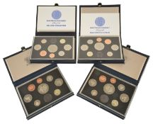 A collection of Guernsey Proof Coin Sets to include two cased eight piece coin sets of 1985