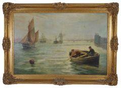 Bernard Benedict Hemy (British 1845 - 1913) Ship going to sea, in full sail with fishermen