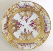An 18th century Meissen porcelain plate decorated in the Chinese style attributed to Christian