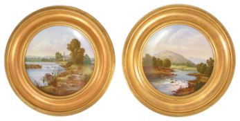 A pair of gilt framed Coalport plates, late 19th/early 20th century, of circular form with wavy edge