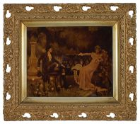 Two late 19th century crystoleum, the first depicting a young courting couple seated on a garden