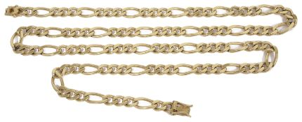 A heavy contemporary 9ct gold flat curb link fancy chain approx. 70 cm. in length approx. weight