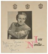 An interesting collection of Ivor Novello and Madame Clara Novello Davies memorabilia, dating from