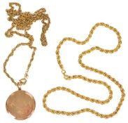 A contemporary 9ct gold rope twist chain necklace together with a circular Edwardian 9ct gold '