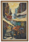 'China Town Street Scene', 20th century, oil on canvas, unsigned, depicting several figures standing