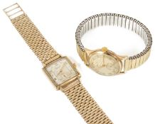 An Everite Super 9ct gold gentleman's wristwatch, the square dial with partial arabic numerals and