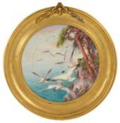 A Royal Worcester gilt framed plate, by Charles Henry Clifford Baldwyn, dated 1906 of circular