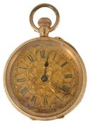 A 14K gold Ladies open cased pocket watch with gilt foliate engraved dial with Roman numeral