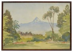 A 20th century watercolour, British School, depicting the Provence Alps from a garden view,