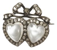 A charming 19th Century twin moonstone heart and rose diamond love brooch with central heart