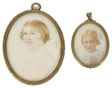 An painted ivory miniature of Pamela Fenwick, by Anne Taylor, dated 1941 modelled as a side