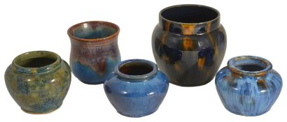 A selection of Bourne Denby pottery jars, mid 20th century comprising of three squat jars, each in a