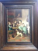 A contemporary copy of a 17th century Dutch master 'Dancing kitten tavern scene', together with a