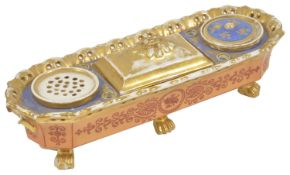 A porcelain desk ink stand, late 19th century, possibly Derby of rectangular rounded form with